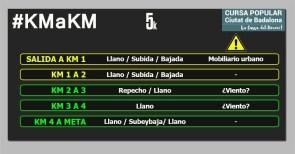 CURSA BADALONA DIMONI 5k km a km circuito