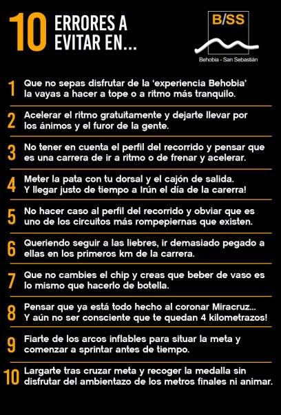 10 errores BEHOBIA SAN SABASTIAN